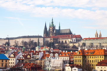 Scenic summer view of Old Town architecture in Prague