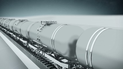 Train with petroleum tank cars front view looping animation