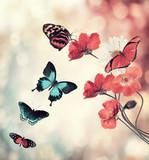 Naklejka Flowers And Butterflies