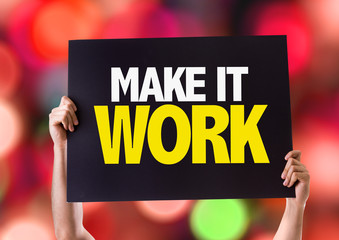 Make It Work card with bokeh background