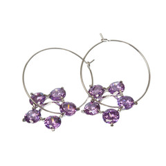 The round silver earrings
