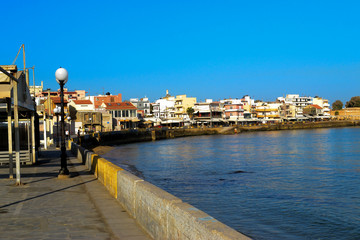 Beautiful cityscape and promenade in city of Chania on island of
