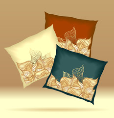 Set Pillows with abstract shells yellow brown dark blue  colors