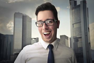 Successful businessman smiling