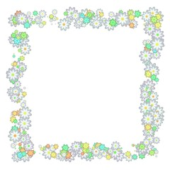 Abstract pale floral frame. Isolated on white background.