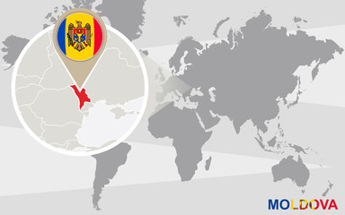 World map with magnified Moldova