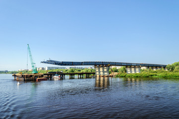 Construction of a new bridge over the Volkhov in Veliky Novgorod