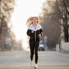 Morning jogging in the city