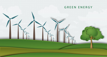 wind turbines on clean field. concept of clean energy