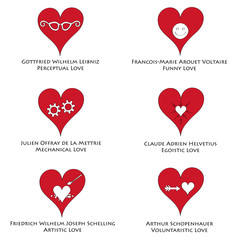 Philosophical love icons set