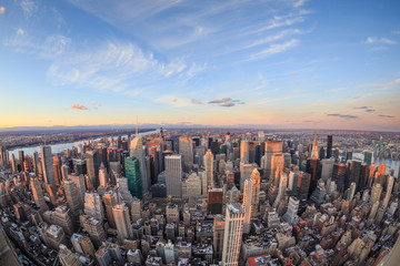 Beautiful New York City skyline with urban skyscrapers.