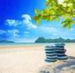 beautiful sand beach on the sunny day