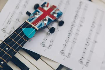 Ukulele and piano keys