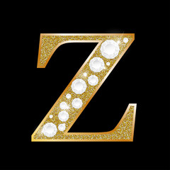 Letter Z of gold and diamond