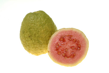 Two guavas isolated on white background