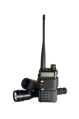 2-way radio isolated with flashlight and monocular