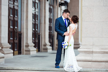 Beautiful and elegant bride and groom on wedding day