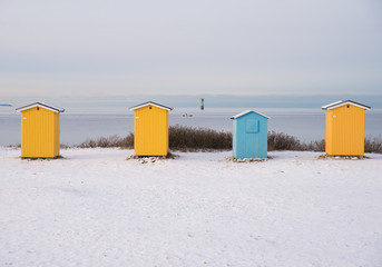 four small huts