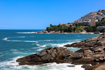 Leblon beach and Favela do Vidigal view