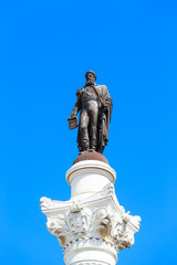 Statue of Don Pedro IV on the Don Pedro square also called Rossi