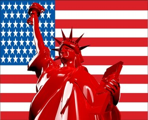 Red Statue of liberty
