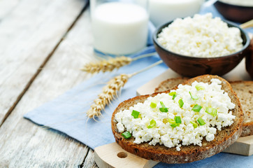 healthy Breakfast with whole grain rye bread, cottage cheese and