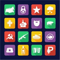 Russia Icons Flat Design