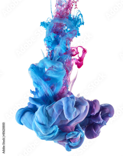 Keuken foto achterwand Water planten blue and pink ink color drop underwater