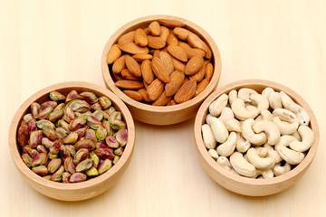 Bowls of Almonds,cashew, pistachio