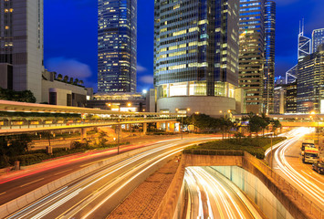 Hong Kong bussines at night.