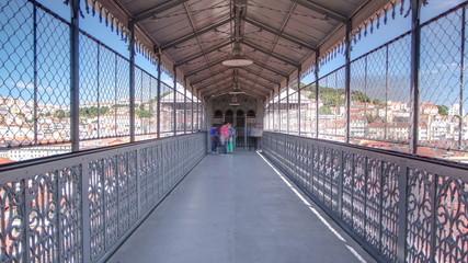 Elevador de Santa Justa, Lisbon, Portugal. Inside view timelapse