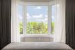 Leinwanddruck Bild - Bay window with summer view