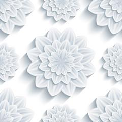 Background seamless pattern with 3d flower chrysanthemum