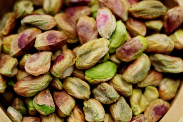 Closeup of fresh Pistachios