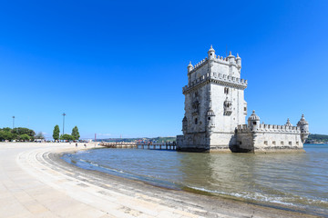 Belem Tower on the Tagus river in the morning, famous city landm