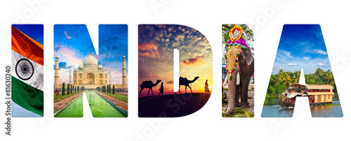 Plexiglas Asia land India text with indian images