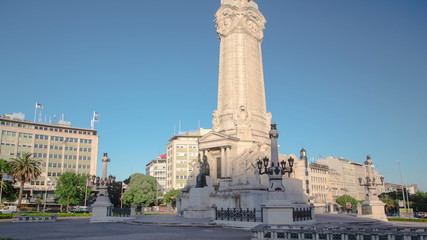 The Marquess of Pombal Square on a sunny day which is an