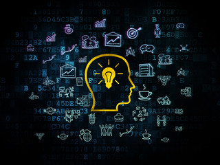 Business concept: Head With Lightbulb on Digital background
