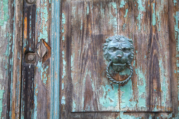 Italian door knocker in the shape of a lion's head