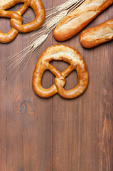 Fresh baked pretzel on the table