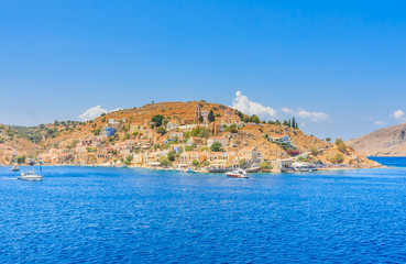 The capital of the island of Symi - Ano Symi. Harani area. Greec