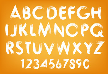 Vector summer alphabet typography set with numbers.