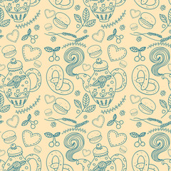 Tea party vector seamless pattern