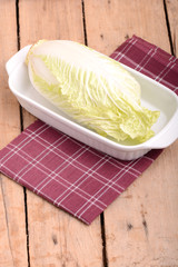 Cabbage chopped in glass bowl