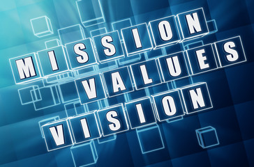 mission, values, vision in blue glass blocks