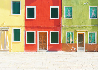 Old painted houses in Burano, Italy.