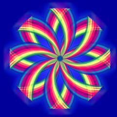 mandala flower, rainbow colors in circles over blue