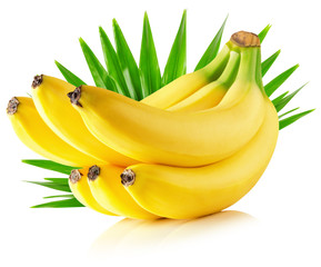 bananas with leaves isolated on the white background