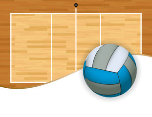 Volleyball and Court with Copyspace Illustration