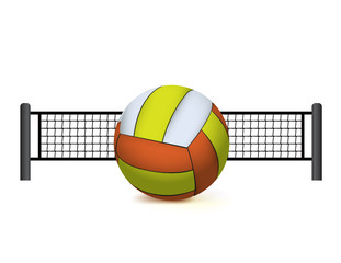 A Volleyball and Net Isolated on White Illustration